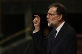 Mariano Rajoy, durante su intervención en el Congreso de los...