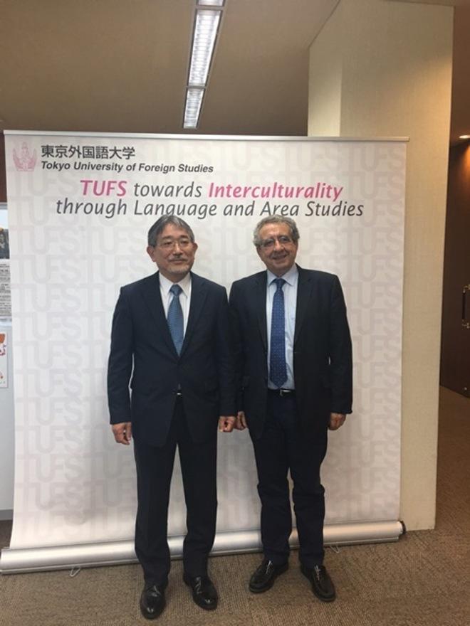 Hirotaka Tateishi y el rector de la UMA, José Ángel Narváez