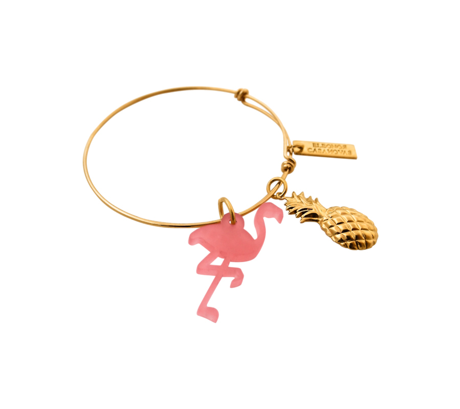 Pulsera Flamingo y piña chapada en oro de 18 kilates (34 euros).