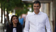 Adriana Lastra, Pedro Sánchez y José Luis Ábalos se dirigen a la...