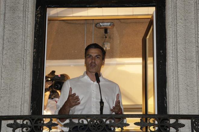 Pedro Sánchez, el pasado 21 de mayo en la sede socialista de Ferraz,...