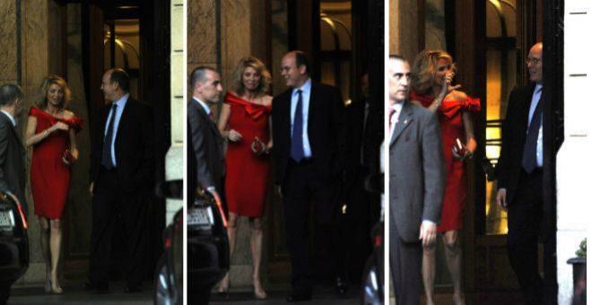 Corinna y Alberto de Mónaco abandonando el hotel Ritz de Madrid el 25 de junio de 2008