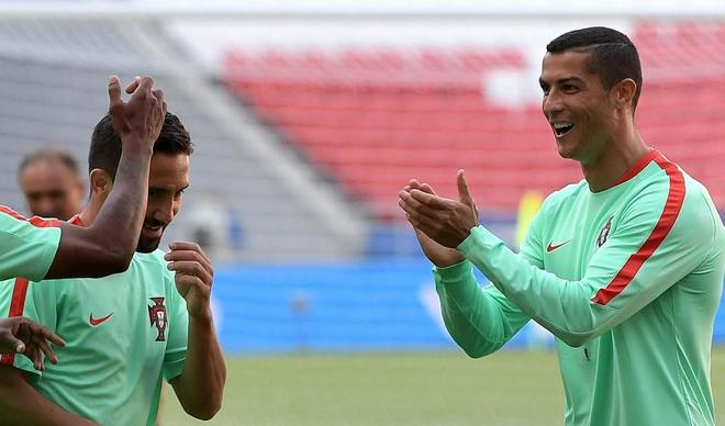 Cristiano Ronaldo, durante un entrenamiento con la selección de Portugal.
