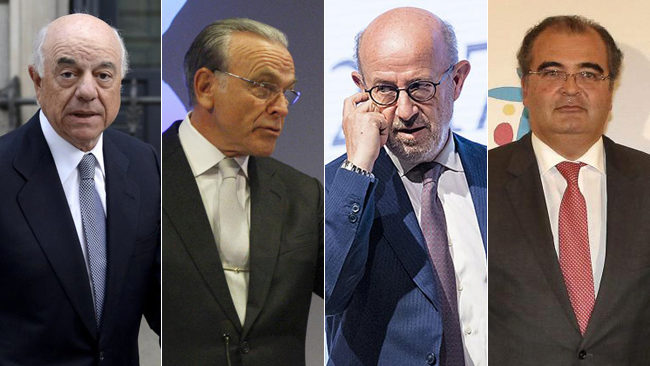 Francisco González (presidente de BBVA), Isidre Fainé (presidente de La Caixa), Emilio Saracho y Ángel Ron (los dos últimos, ya ex presidentes de Banco Popular).