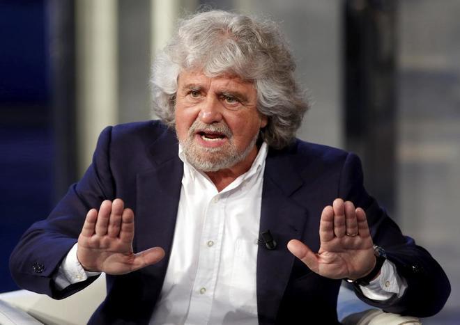 El líder del Movimiento 5 Estrellas, Beppe Grillo, en el programa televisivo 'Porta a Porta'.