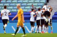 La selección alemana celebra el 1-0 ante Australia en la Copa Confederaciones.
