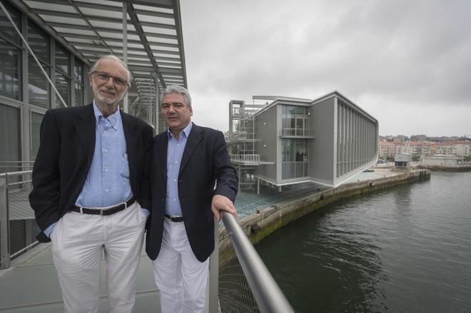 Los arquitectos Renzo Piano y Luis Vidal en el Centro de Arte Botín en Santander