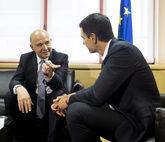El secretario general del PSOE, Pedro Sánchez, en su reunión ayer...