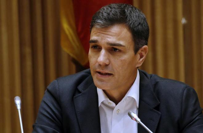 Pedro Sánchez, el pasado martes en su intervención ante el grupo...