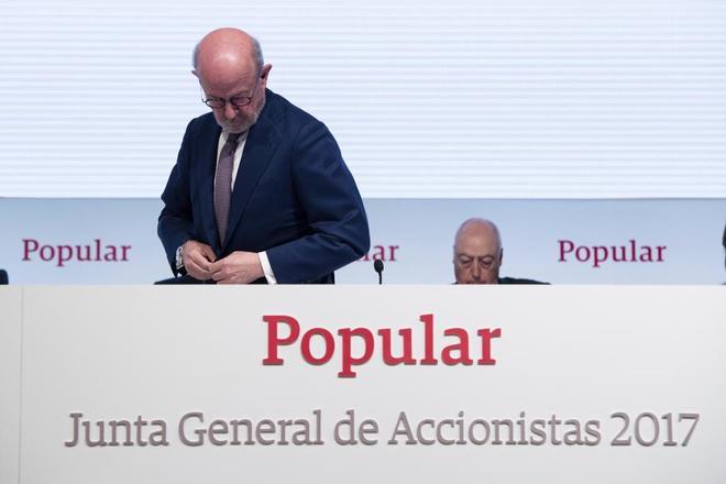 El ex presidente del Banco Popular Emilio Saracho durante una junta de accionistas.