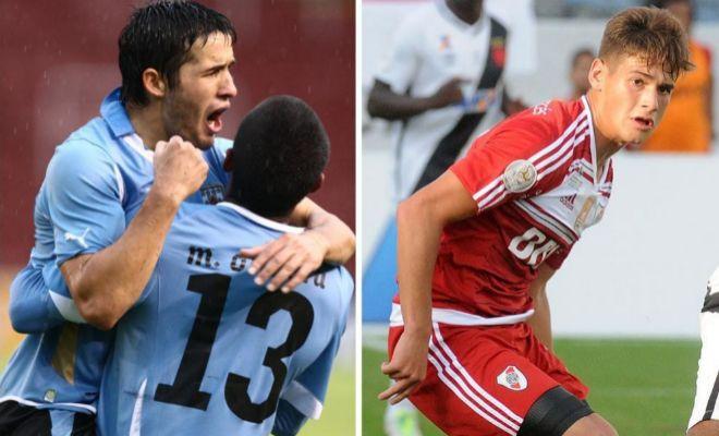 Camilo Mayada y Lucas Martínez Quarta, futbolistas de River Plate.