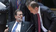 Mariano Rajoy y el primer ministro sueco, Stefan Lofvenis, este...