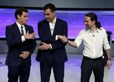 Albert Rivera, Pedro Sánchez y Pablo Iglesias, durante un debate para...