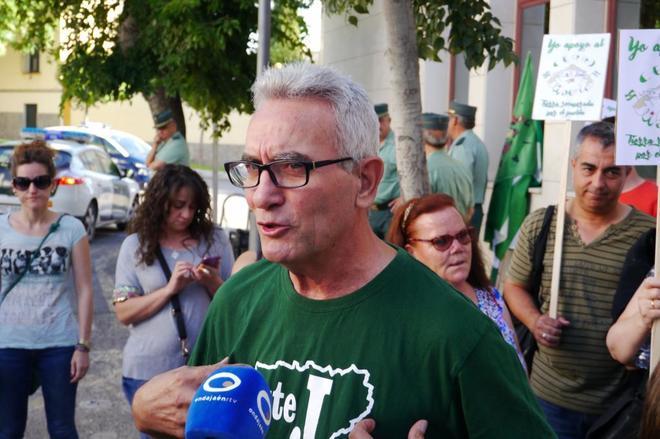 Diego Cañamero en el juicio contra el SAT en Jaén.