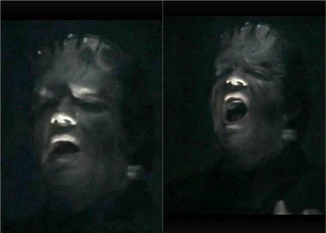 Fotogramas de la interpretación de Villarejo como Franskenstein en la película.