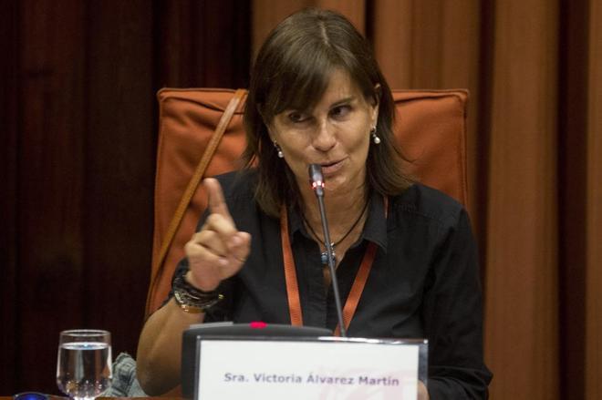 Victoria Álvarez durante su comparecencia en la comisión de investigación del Parlament