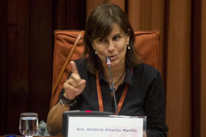 Victoria Álvarez, ayer, durante su comparecencia en la comisión de...