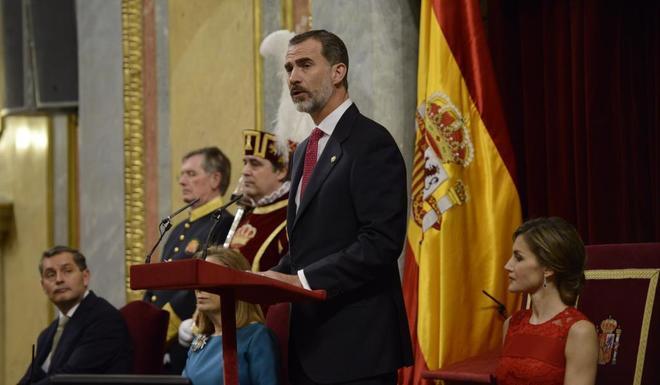 El Rey Felipe VI, durante su discurso en el Congreso por el 40º...