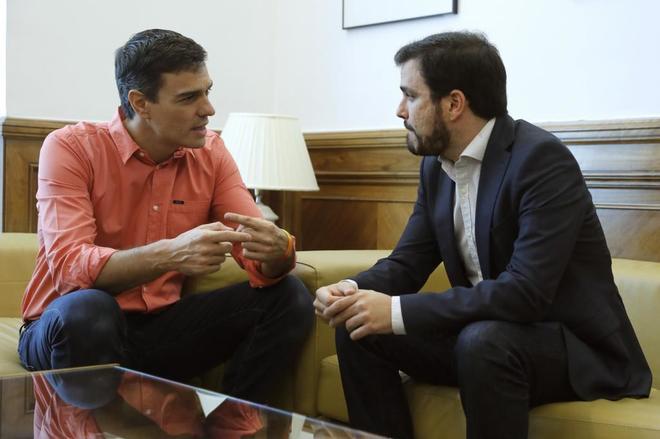 Pedro Sánchez, durante la reunión que ha mantenido hoy con el...