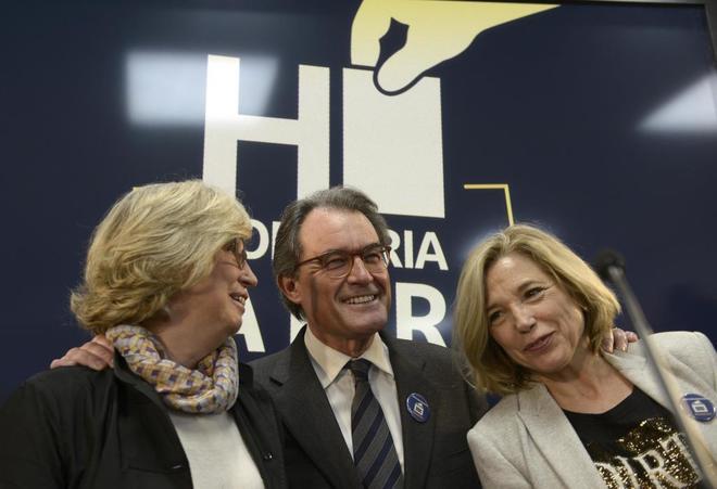 El ex presidente Mas y las ex conselleras Irene Rigau y Joana Ortega.
