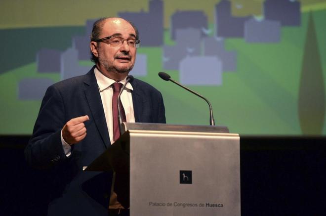 El presidente aragonés, Javier Lambán, durante un acto en Huesca el...