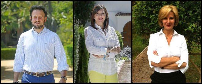 Pablo Ruz, Mercedes Alonso y Enriqueta Seller, candidatos a la Presidencia local del PP de Elche.