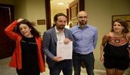Pablo Iglesias, junto a la portavoz de En Marea y  el secretario de...