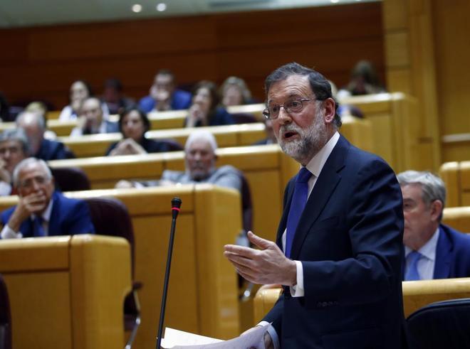 Mariano Rajoy, durante una intervención en una sesión de control en...