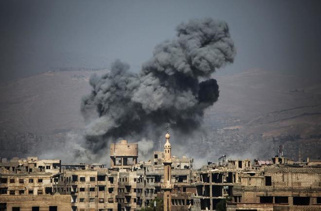 El pueblo de Ayn Tarma, al este de Siria, bombardeado el pasado 7 de julio.