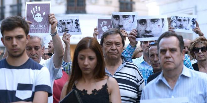 Homenaje a Miguel Ángel Blanco, ayer por la tarde, en Valladolid.
