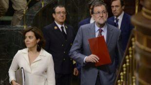 El presidente y la vicepresidenta del Gobierno, hoy en el Congreso de...