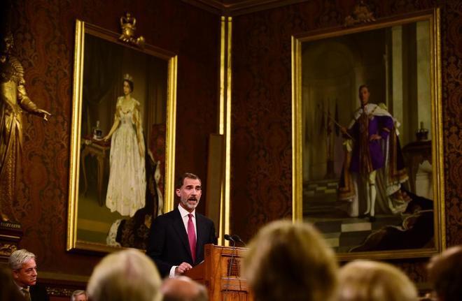 Felipe VI, durante su discurso en Westminster.