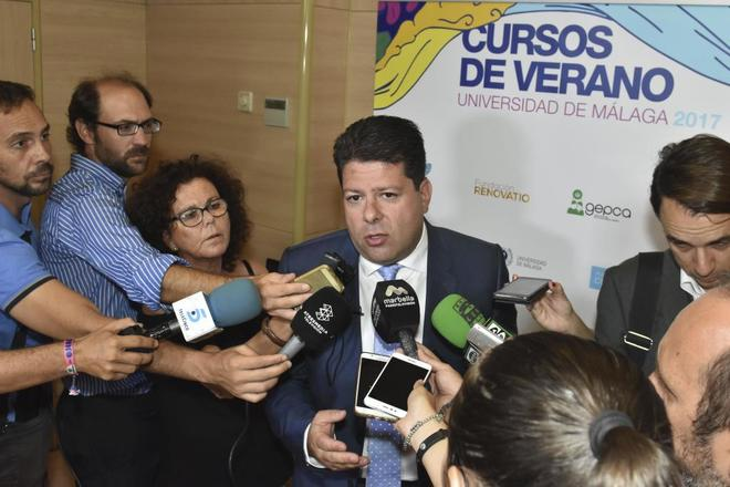 Fabian Picardo, ministro principal de Gibraltar, en unos cursos de...