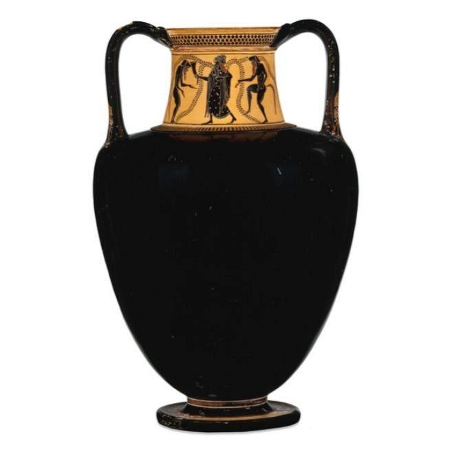 Ánfora griega negra del British Museum.