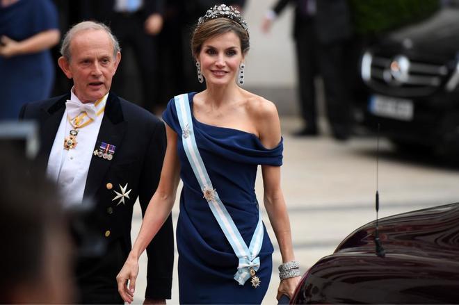 La Reina Letizia, a su llegada a un banquete, durante el segundo día...