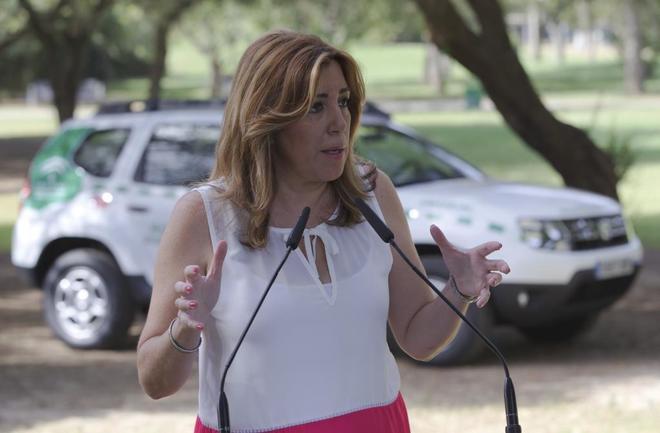 La presidenta de la Junta de Andalucía, Susana Díaz, este jueves en...
