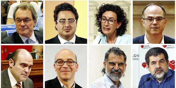 De izquierda a derecha, de arriba a abajo, Artur Mas, David Madí,...