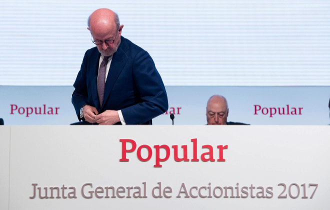 Emilio Saracho, último presidente de Banco Popular en la Junta de Accionistas de abril.