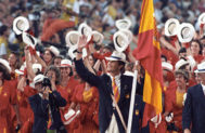 El actual rey de España, abanderado en Barcelona 92.