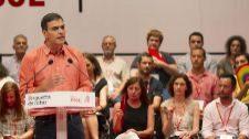 Pedro Sánchez, durante su intervención en la clausura del congreso...