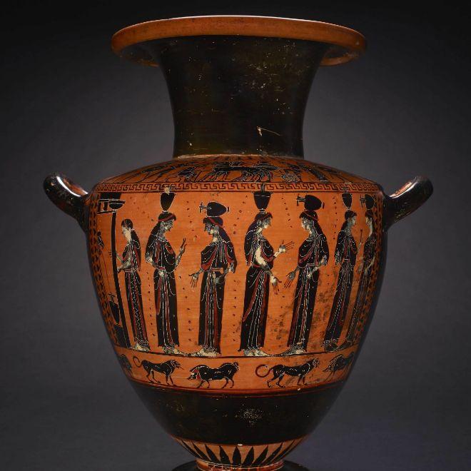 Ánfora de cerámica hallada en Atenas.