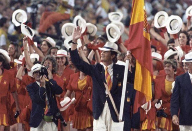 El Príncipe de Asturias, abanderado español de los Juegos Olímpicos de Barcelona 1992.