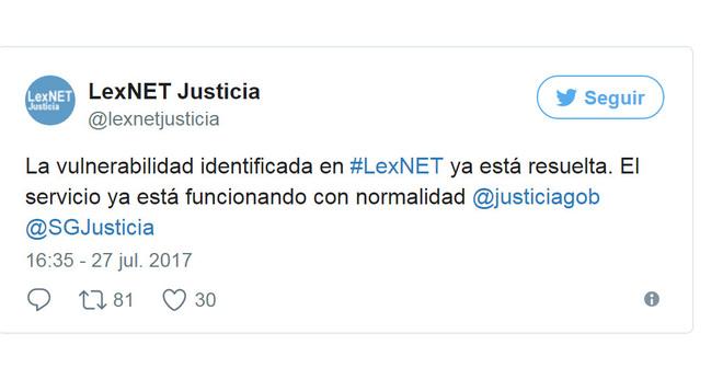 Mensaje en la cuenta oficial de Twitter de LexNET-Justicia anunciando...