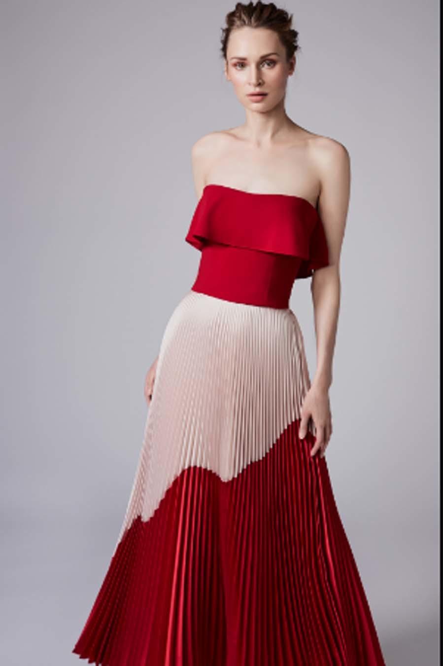 41179e6b0df9c Vestido rojo y blanco de Reem Acra