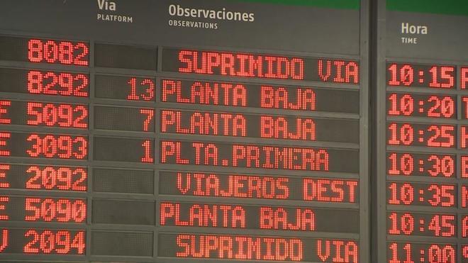 Trenes cancelados con motivo de la huelga en Renfe.