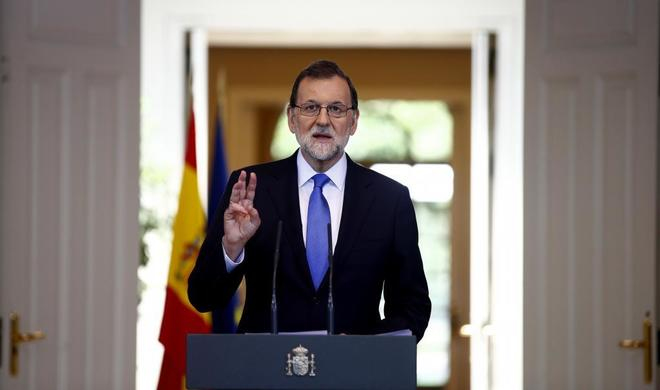 El presidente Mariano Rajoy durante su comparecencia de este viernes...