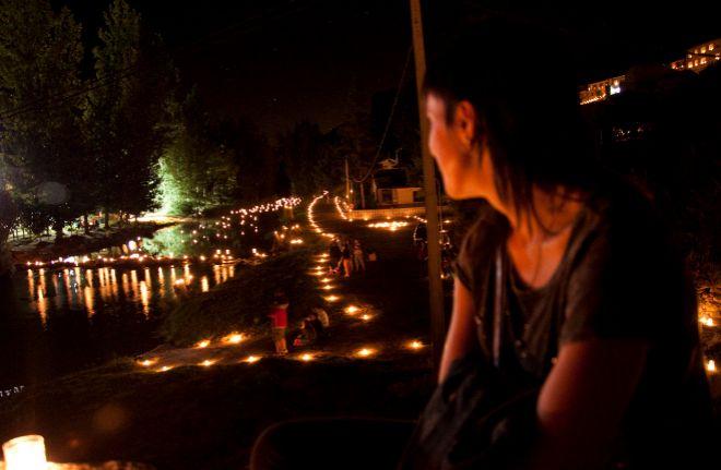 Río Duratón con velas.