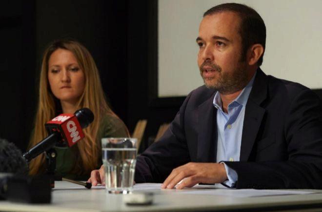 El CEO de Smartmatic , Antonio Mugica, durante la rueda de prensa de hoy, en Londres.