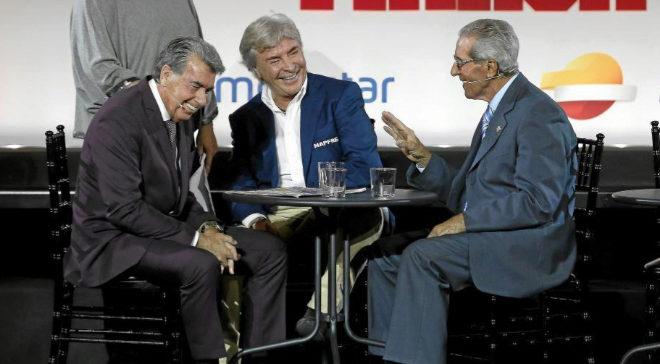 Manolo Santana, Ángel Nieto y Federico MartinBahamontes durante el 75 aniversario de MARCA.