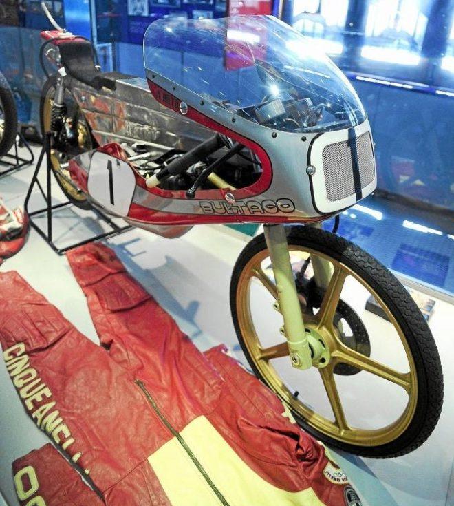 Una de las motos de Ángel Nieto en su museo en Madrid.